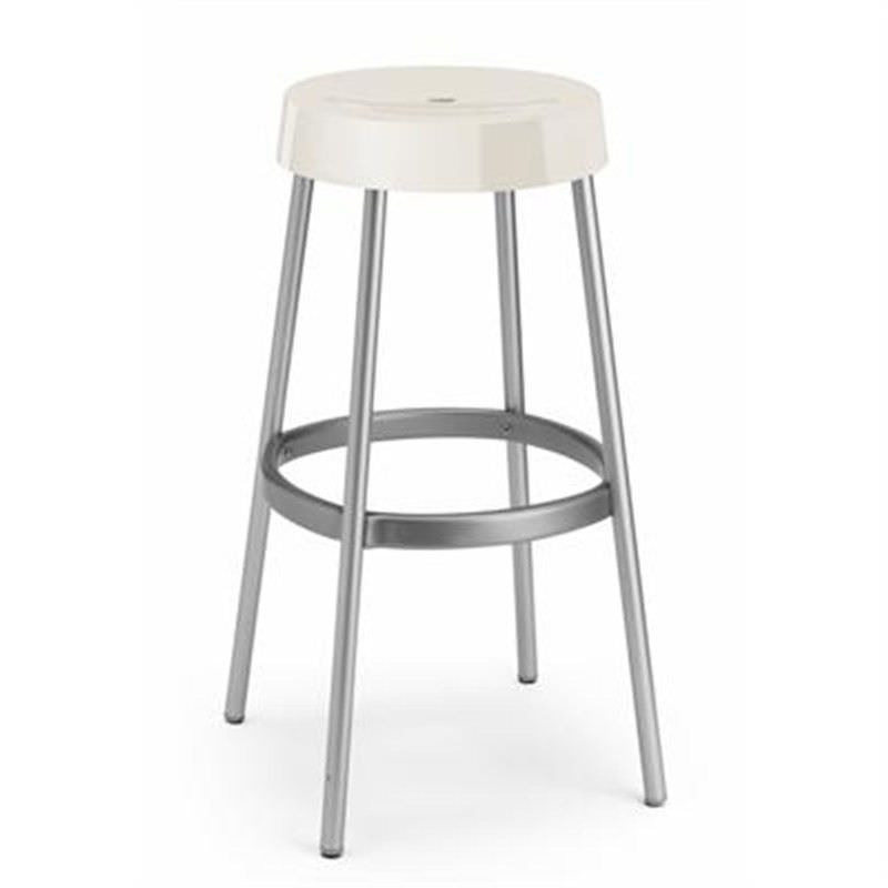 Gim Italian Made Commercial Grade Stackable Indoor/Outdoor Bar Stool, White