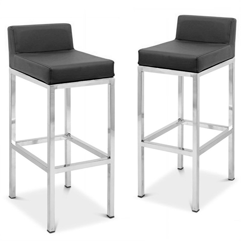Lima Set of 2 Commercial Grade Stainless Steel Bar Stools with Vinyl Seat- Black