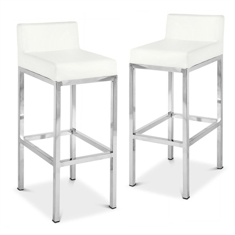 Lima Set of 2 Commercial Grade Stainless Steel Bar Stools with Vinyl Seat- White