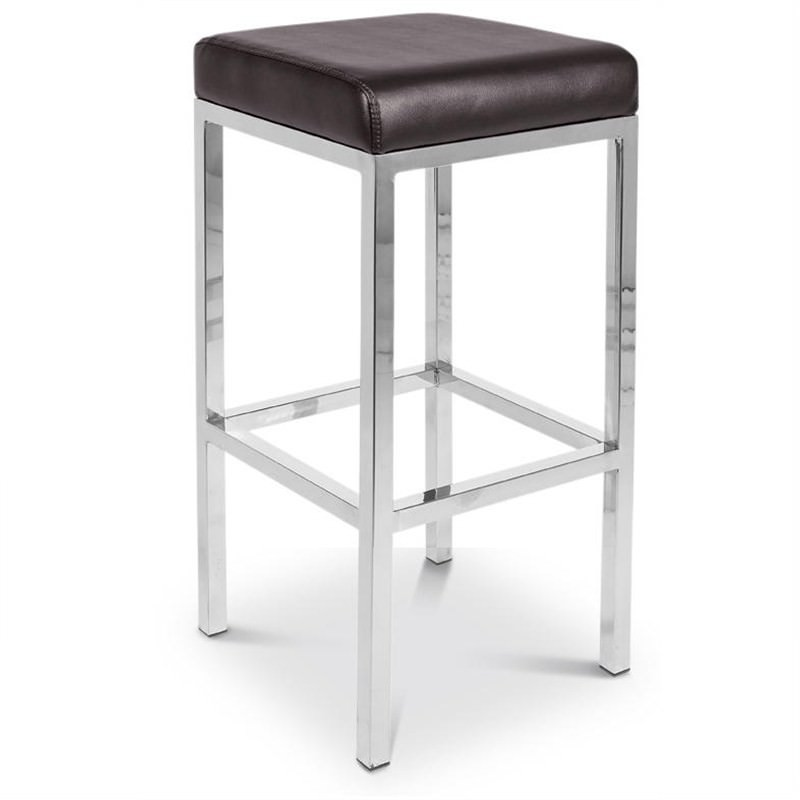Oslo Set of 2 Commercial Grade Stainless Steel Bar Stools with Vinyl Seat - Brown