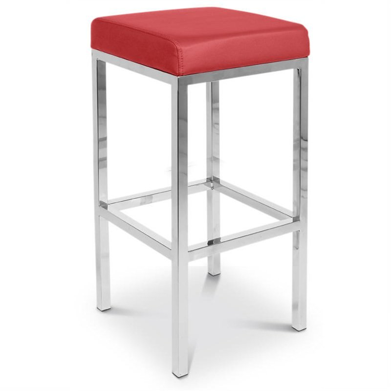 Oslo Set of 2 Commercial Grade Stainless Steel Bar Stools with Vinyl Seat - Red