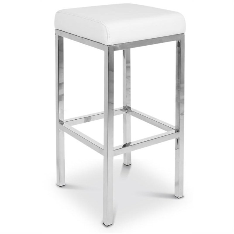 Oslo Set of 2 Commercial Grade Stainless Steel Bar Stools with Vinyl Seat - Off White