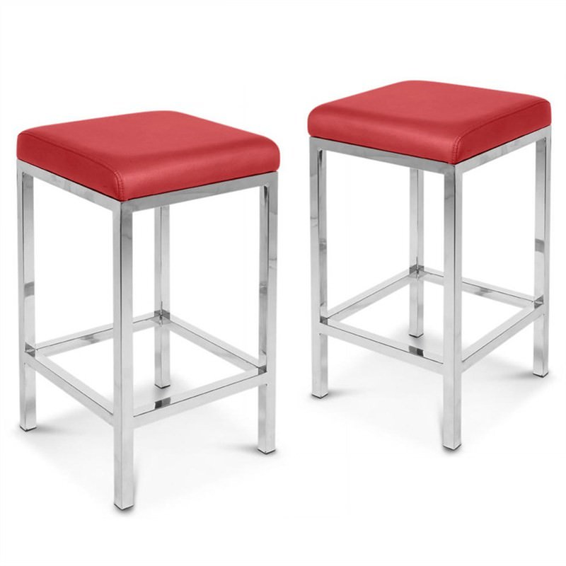 Tokyo Set of 2 Commercial Grade Bar Stools - Red