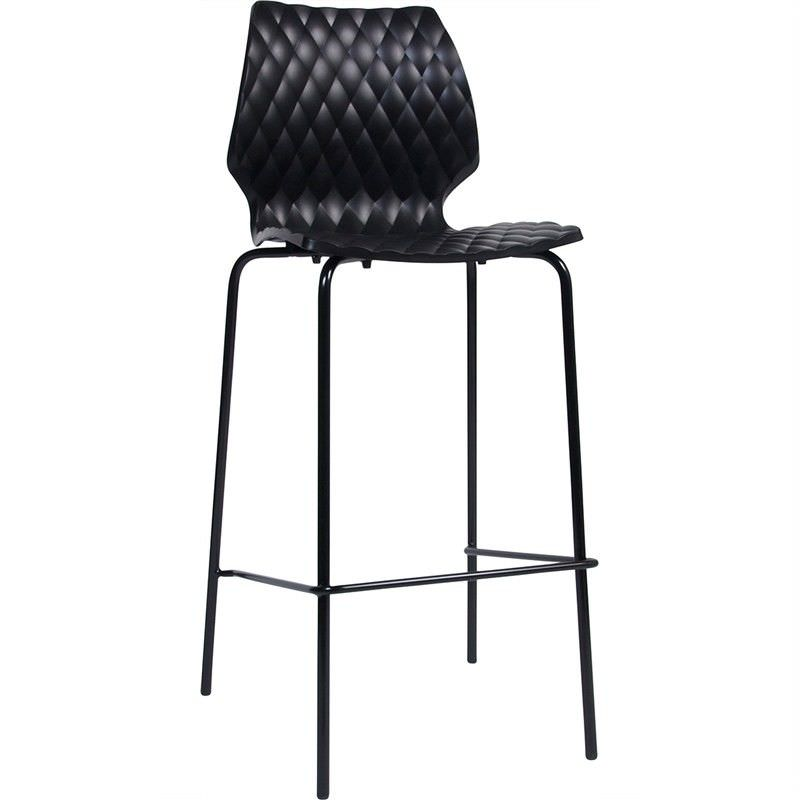 Uni Italian Made Commercial Grade Stackable Indoor/Outdoor Bar Stool, Black