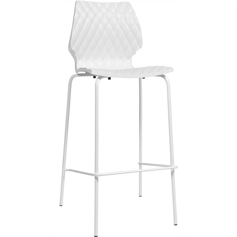 Uni Italian Made Commercial Grade Stackable Indoor/Outdoor Bar Stool, White