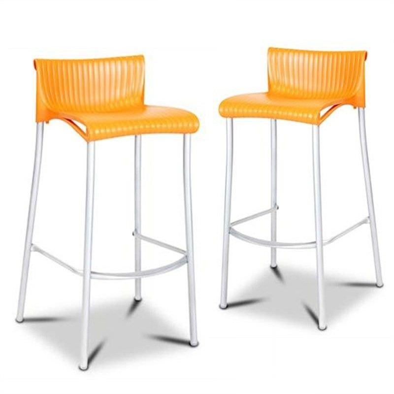 Verona Set of 2 Commercial Grade Indoor/Outdoor Bar Stools, Orange