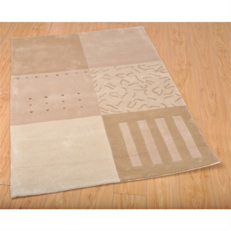Wool Hand-Tufted 9885 Beige Contemporary Rug 110 x 160cm