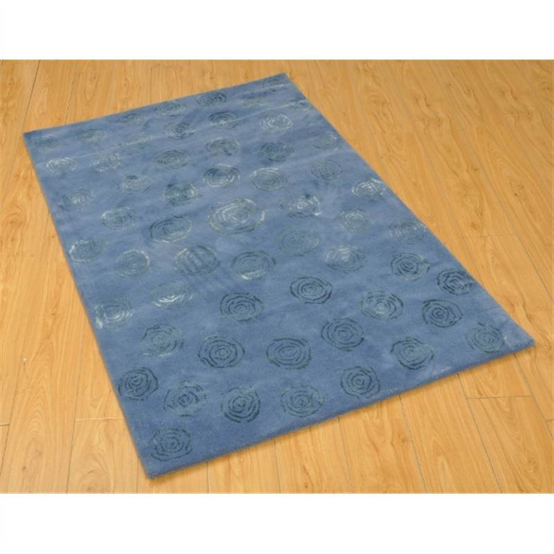 Wool Hand-Tufted Mr80 Blue Contemporary Rug 110 x 160cm