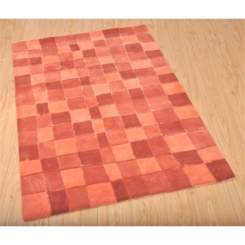 Wool Hand-Tufted Natural - Orange Contemporary Rug 110 x 160cm