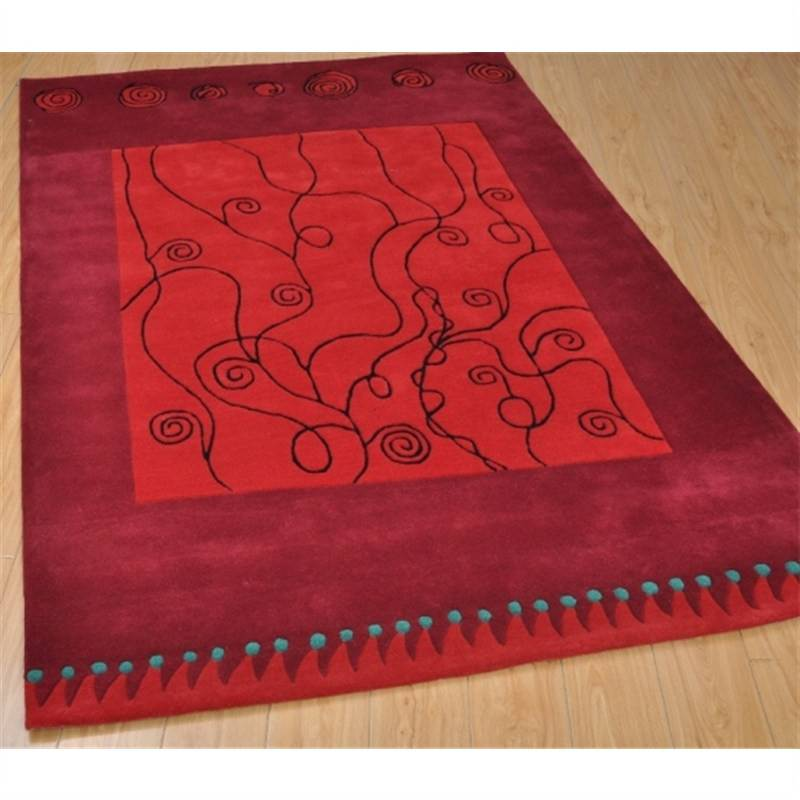 Wool Hand-Tufted 297-Red Contemporary Rug 160 x 230cm