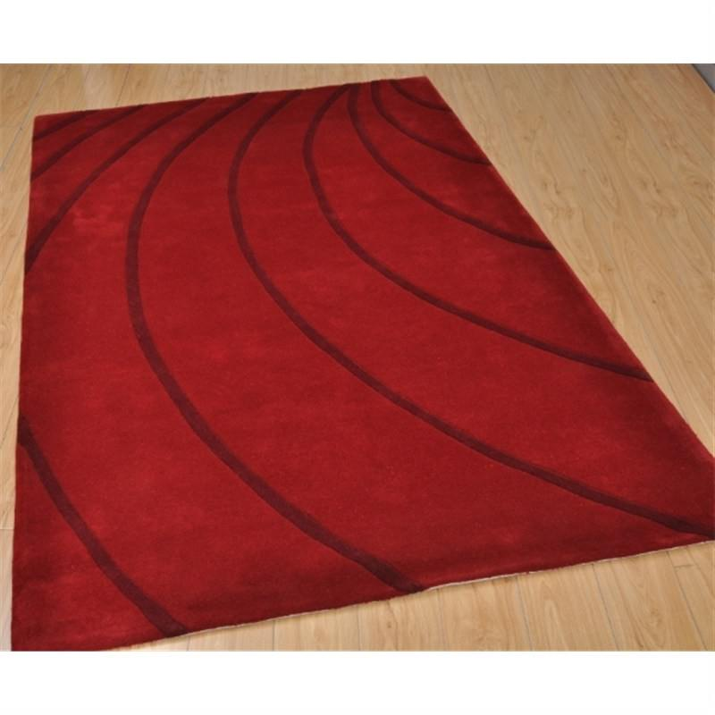 Wool Hand-Tufted Cola Red Contemporary Rug 160 x 230cm