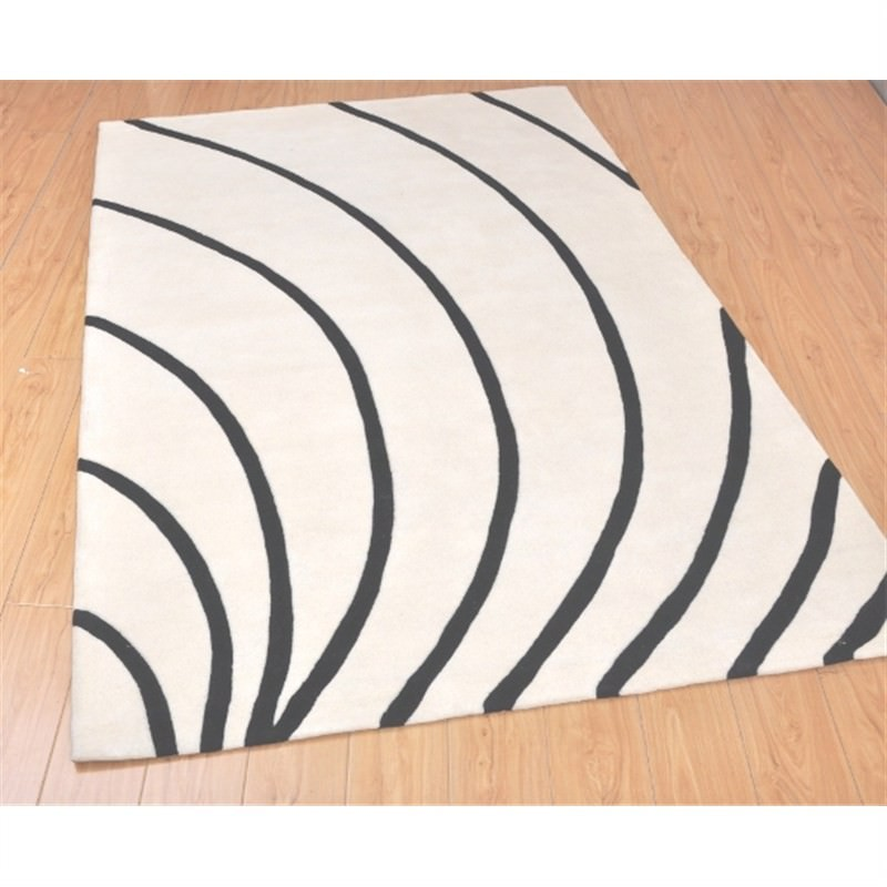 Wool Hand-Tufted Cola White - Black Contemporary Rug 160 x 230cm
