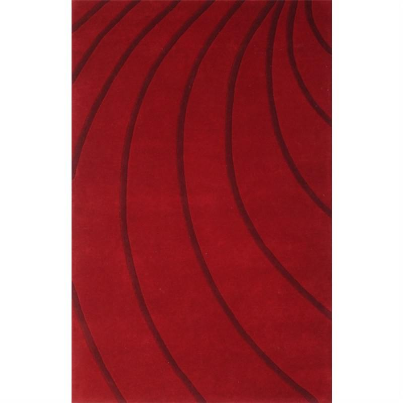 Wool Hand-Tufted Cola Red Contemporary Rug 190 x 280cm
