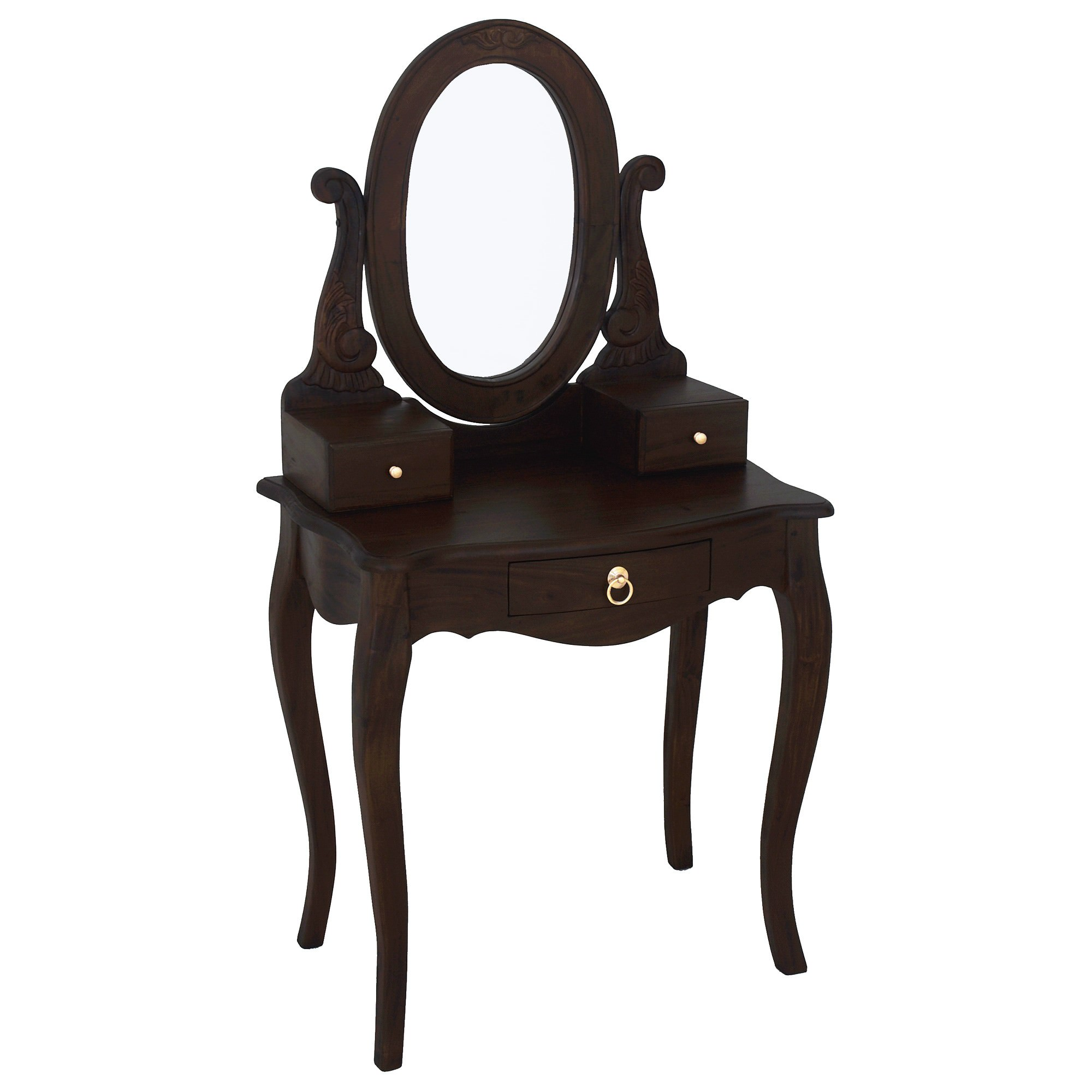 Queen Ann Mahogany Timber Oval Mirror Dressing Table, Chocolate
