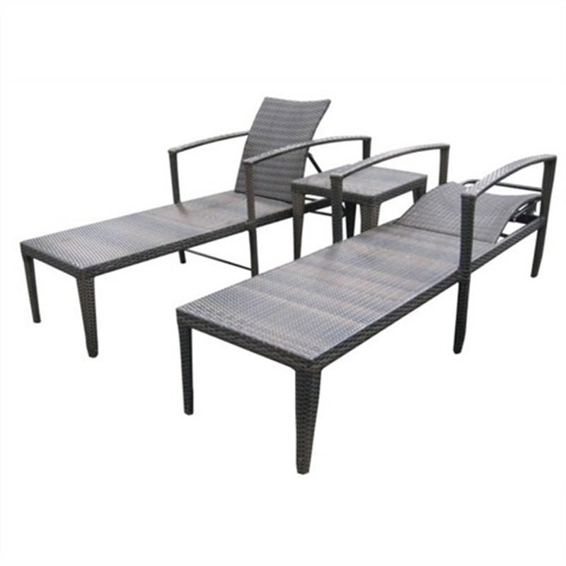 SUN LOUNGE III, With coffee table Dark Brown UV Treated Weather Proff