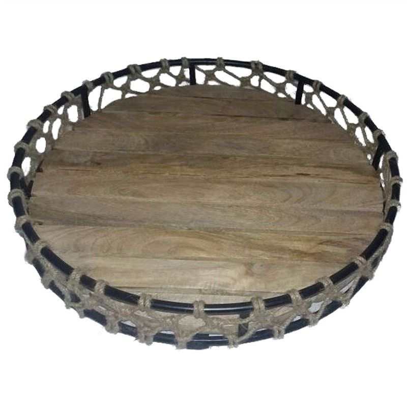 Fishnet Metal and Timber Round Tray