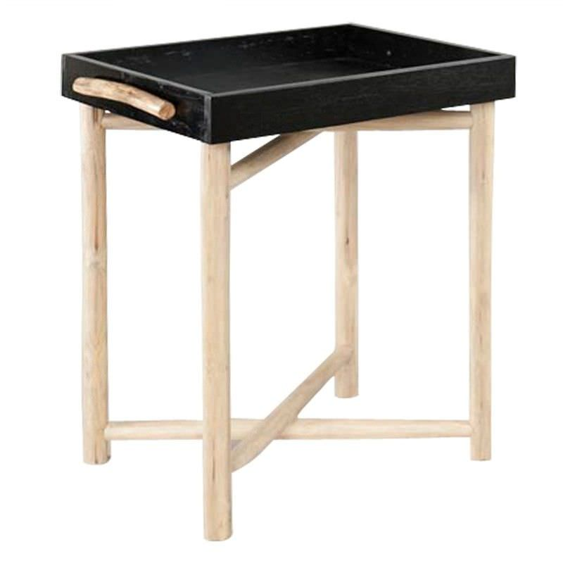 Oceola Tray Top Solid Timber Side Table with Folding Legs - Black