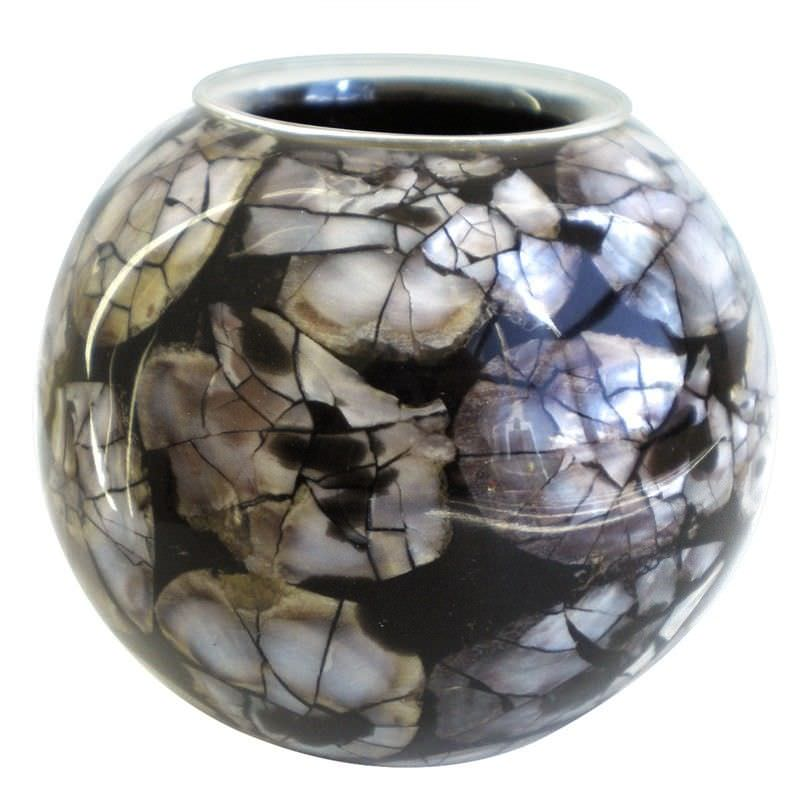 Set of 2 Natural Inlay Tealight Holder, Black with Round Shell