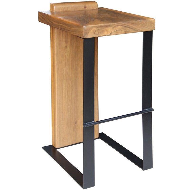 Reiko Solid Teak Timber and Metal Bar Stool