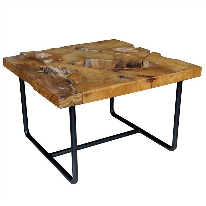 Teak Root Coffee Table Square: Gorgo Teak Root Timber Top Metal 75cm Square Coffee Table