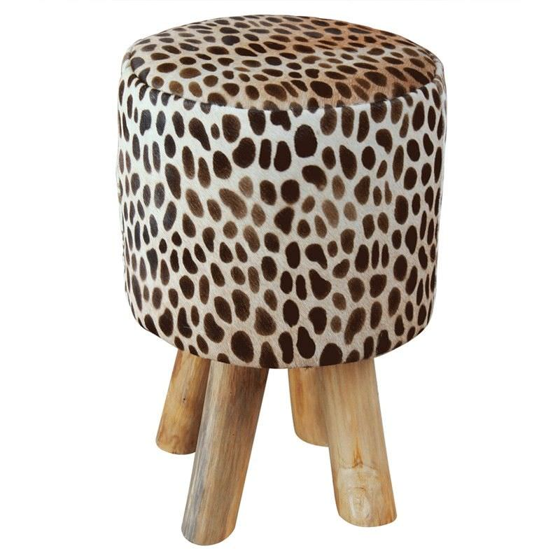 Imo Giraffe Cow Hide and Solid Timber Round Stool