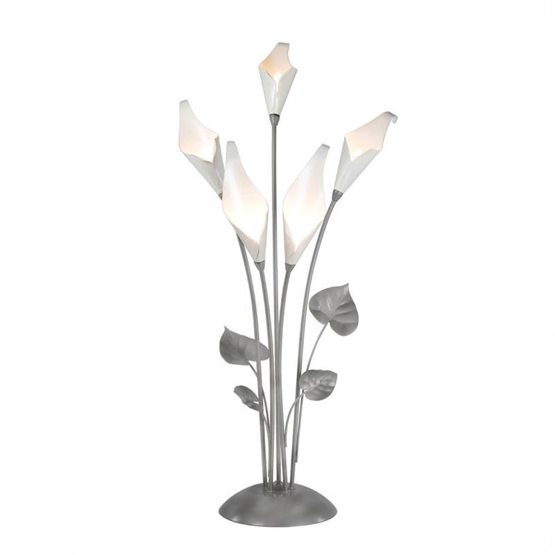 Calla Lily 5 Light Table Lamp in Matt Nickel