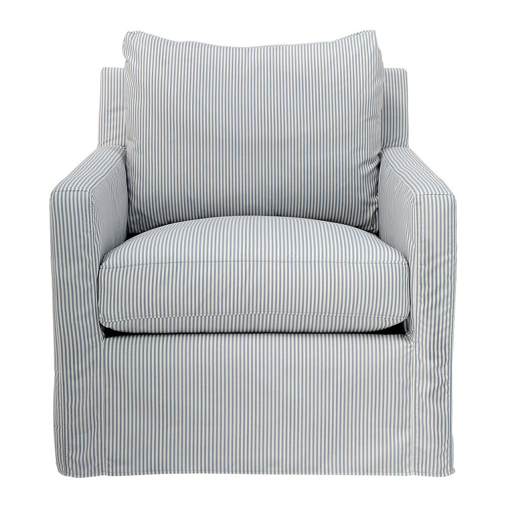 Darrington Fabric Slipcovered Swivel Armchair, Cool Breeze Blue