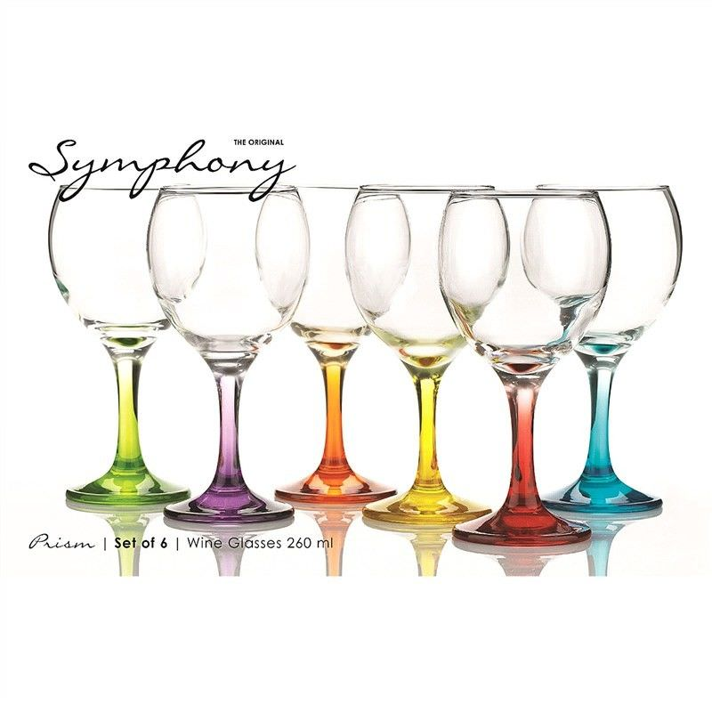 Prism Set of 6 Assorted Colour White Wine