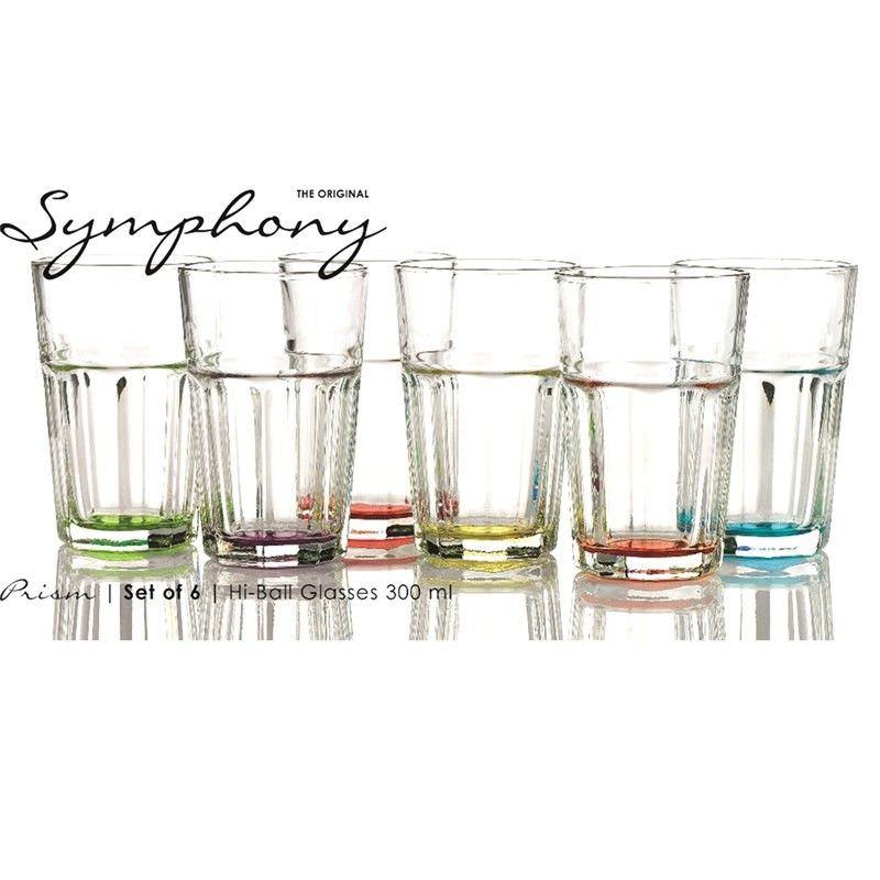 Prism Set of 6 Assorted Colour Hi Ball Glasses