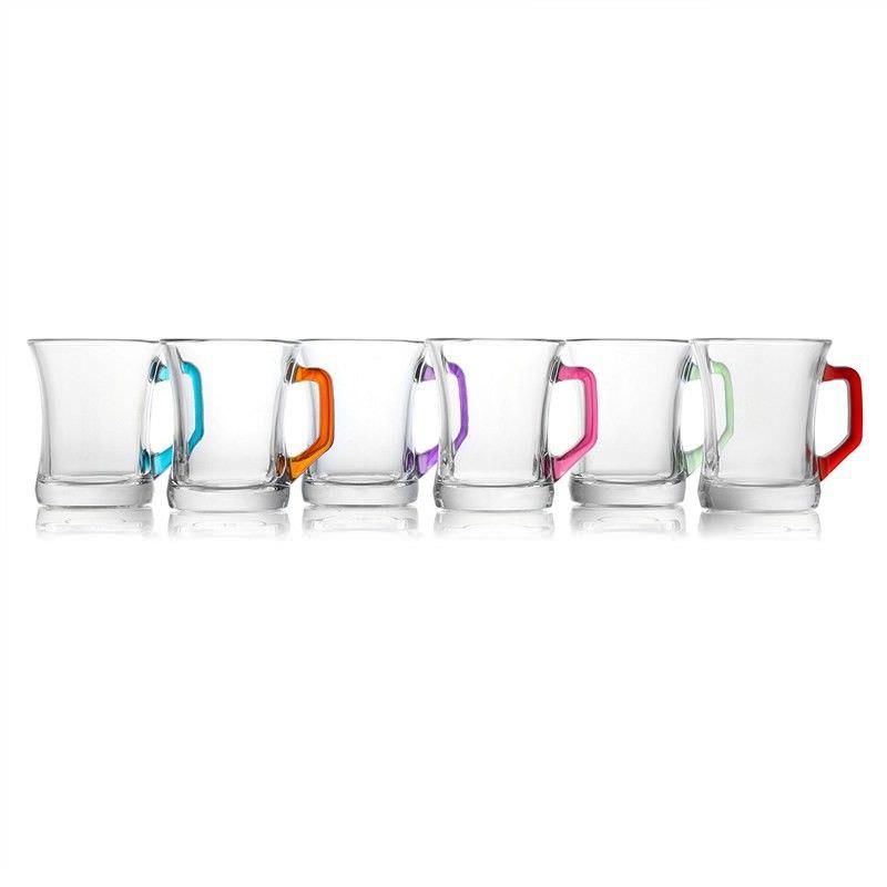 Prism Set of 6 Assorted Colour Tea-Coffee Glasses
