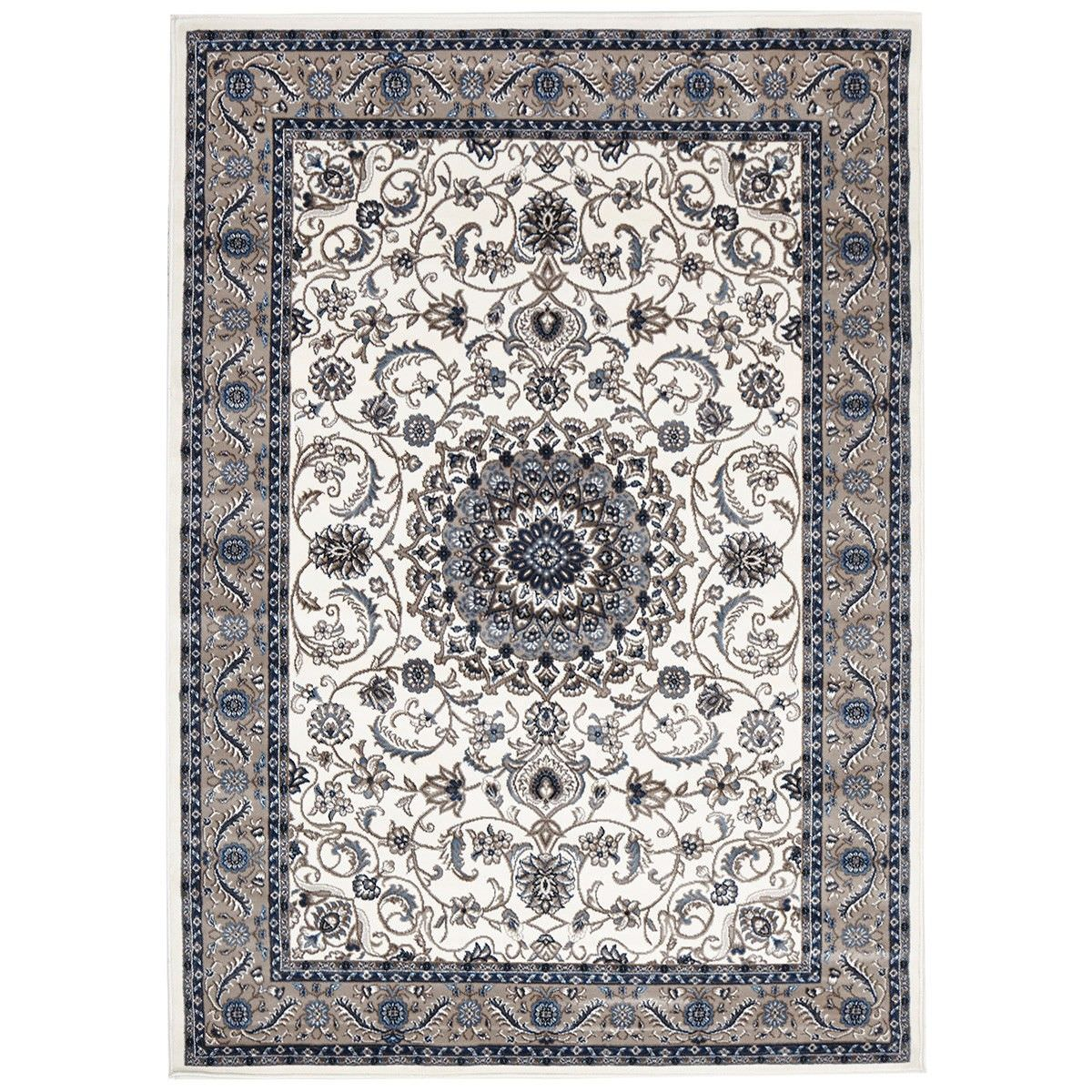 Sydney Medallion Turkish Made Oriental Rug, 230x160cm, White / Beige