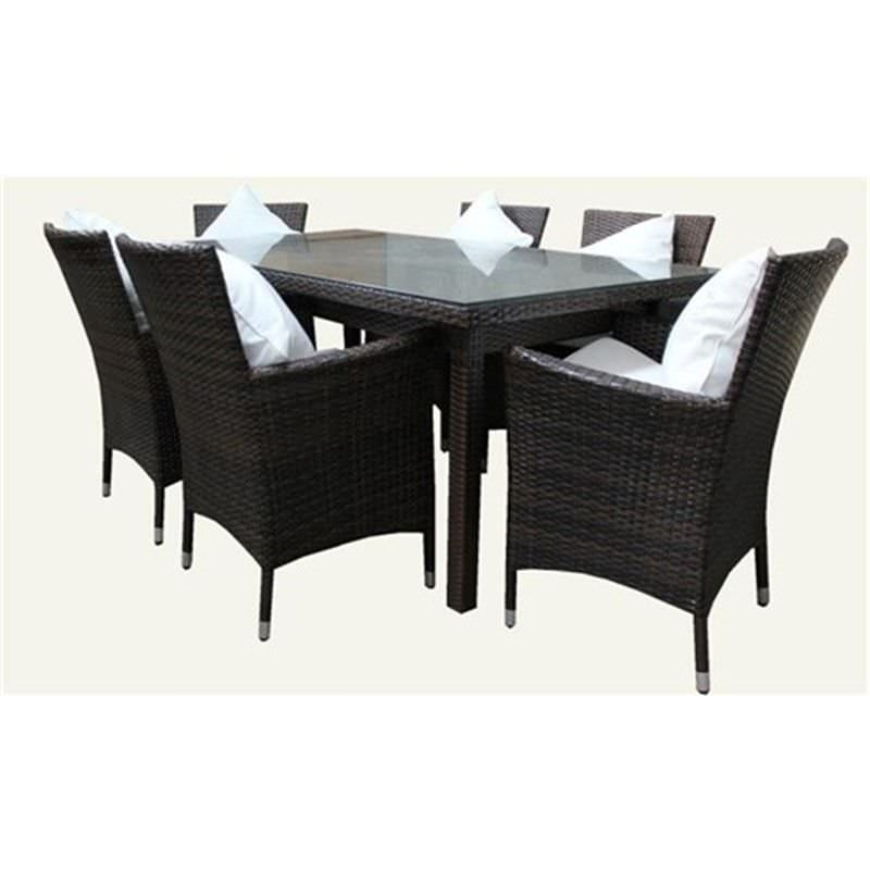 SYDNEY, 6 Seater Wicker Dining Setting Dark Brown UV Treated Weather Proff
