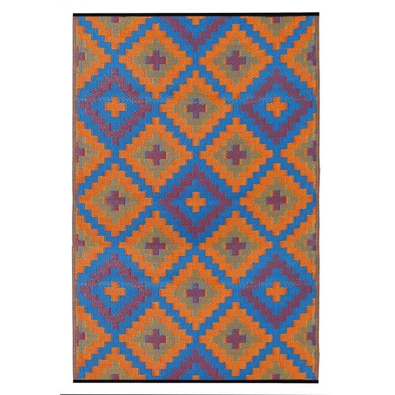 Saman Outdoor Rug in Blue and Orange - 150x238cm