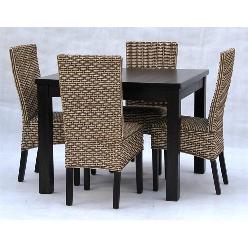 Marthas Vineyard 5-piece Solid Mahogany Timber Dining Set - Chocolate
