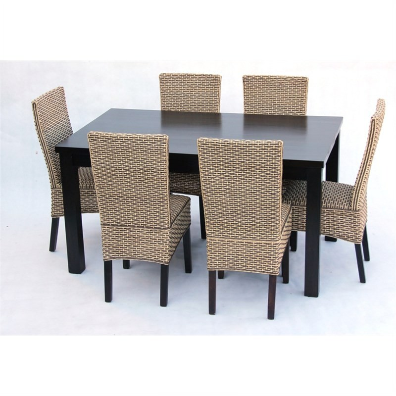 Marthas Vineyard 7-piece Solid Mahogany Timber Dining Set - Chocolate