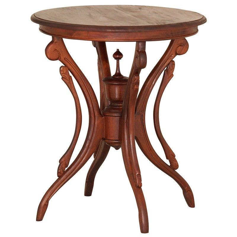 Jolie Solid Mahogany Timber Round Wine Table, Mahogany