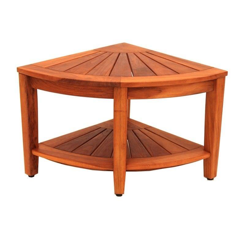 Bath Teak Solid Teak Timber Corner Table with Shelf