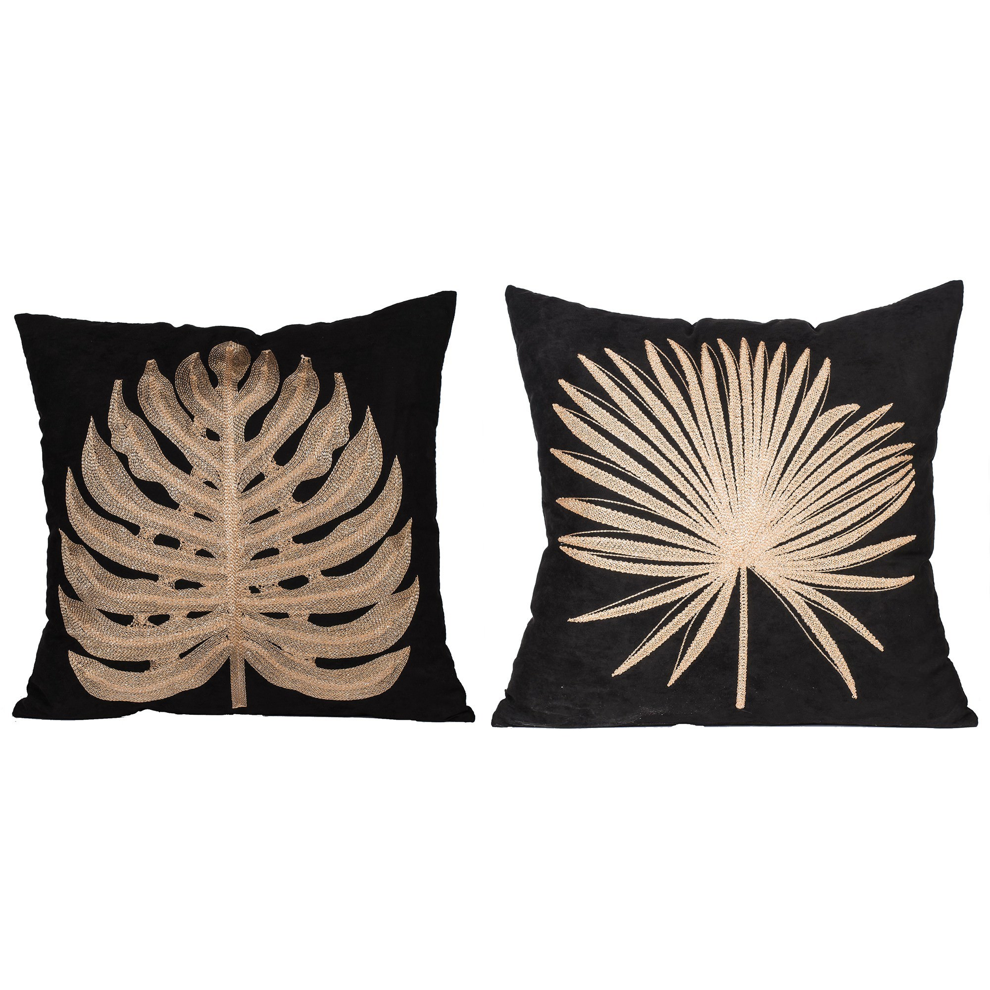 Autumn 2 Piece Embroidered Scatter Cushion Set, Black