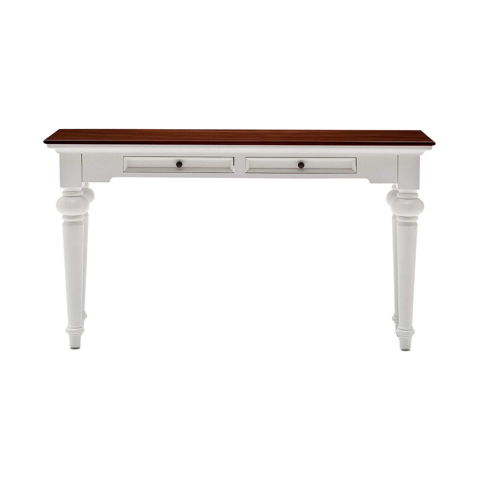 Provence Contrast Mahogany Timber Console Table, 140cm, Brown / White