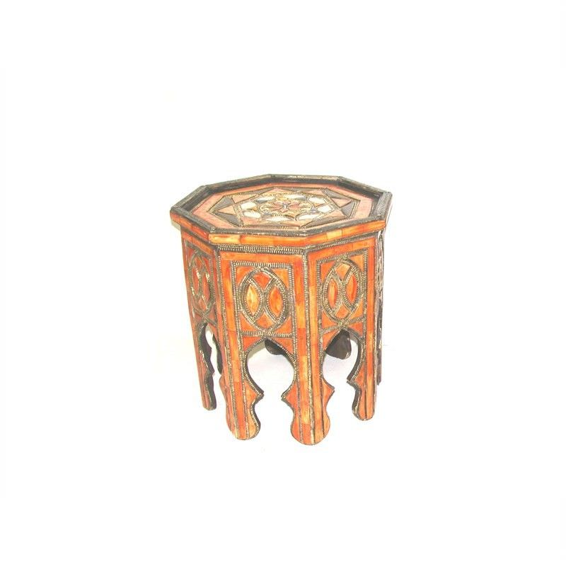 Traditional Moroccan Hexagonal Coffee Table embossed with metal and Bone