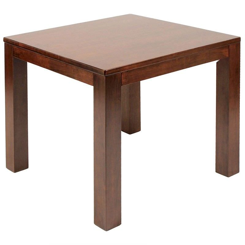 Chunk Commercial Grade Solid Rubberwood Timber 90cm Square Dining Table - Walnut