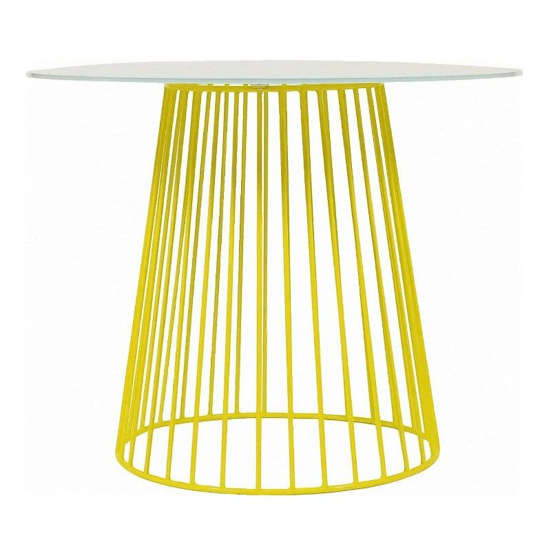 Circus Commercial Grade Steel 90cm Round Dining Table with Clear Glass Top - Lime