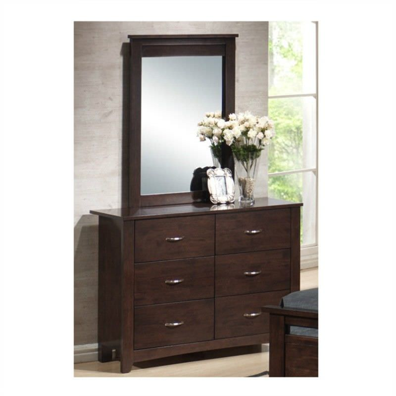 Tayla 6 Drawer Dressing Table with Mirror - Chocolate