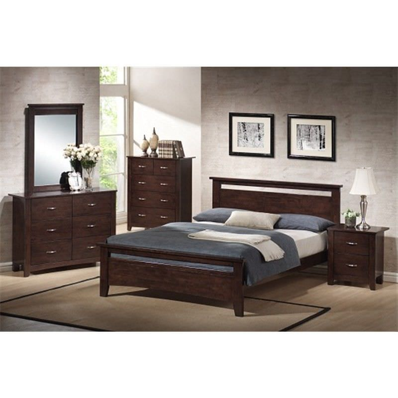 Tayla 4 Piece Queen Bed Suite with Dresser - Chocolate