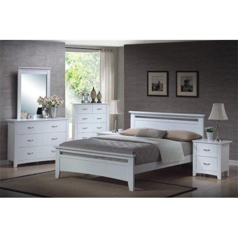 Tayla 4 Piece Queen Bed Suite with Dresser - White