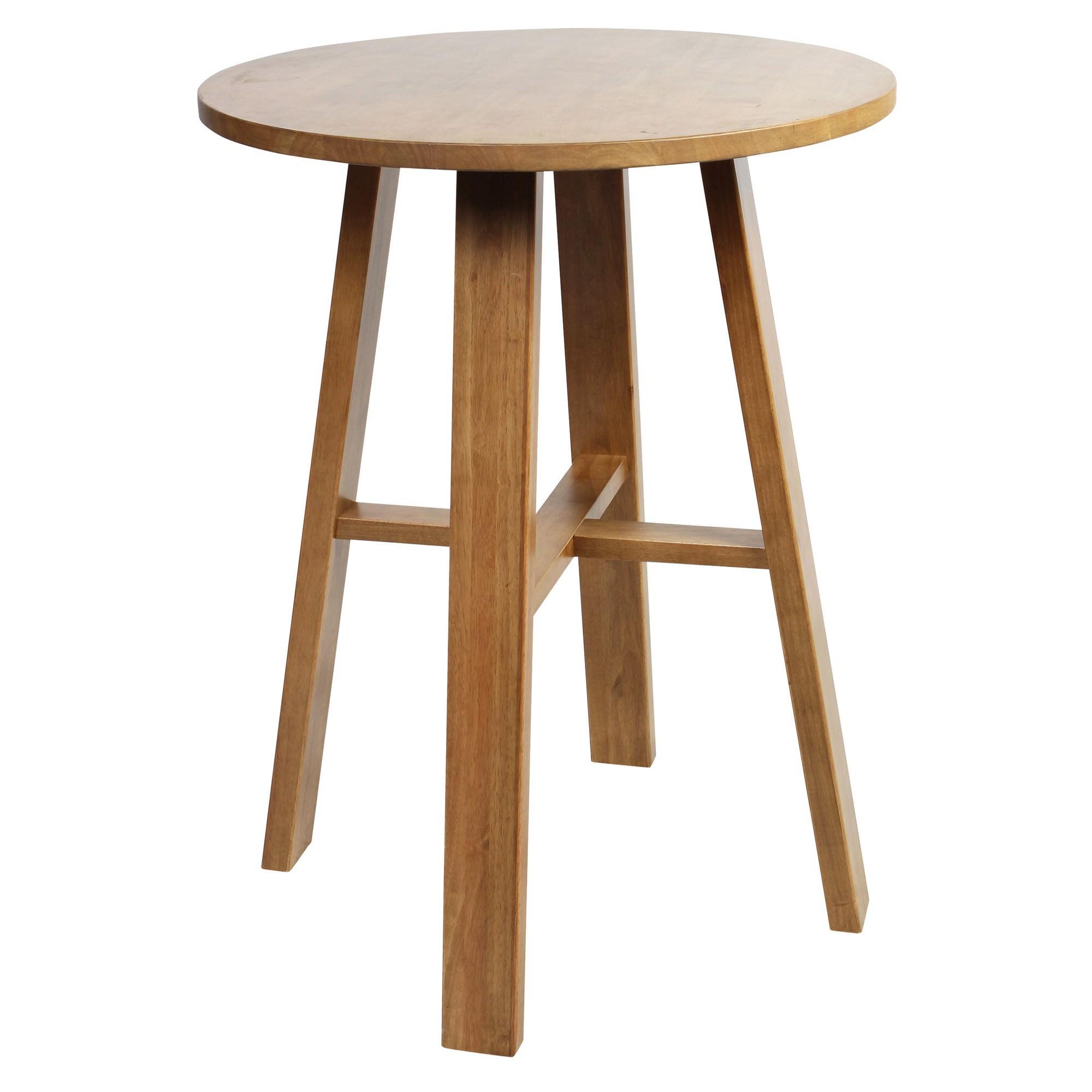 Chunk Commercial Grade Rubberwood Round Bar Table, 80cm, Light Oak