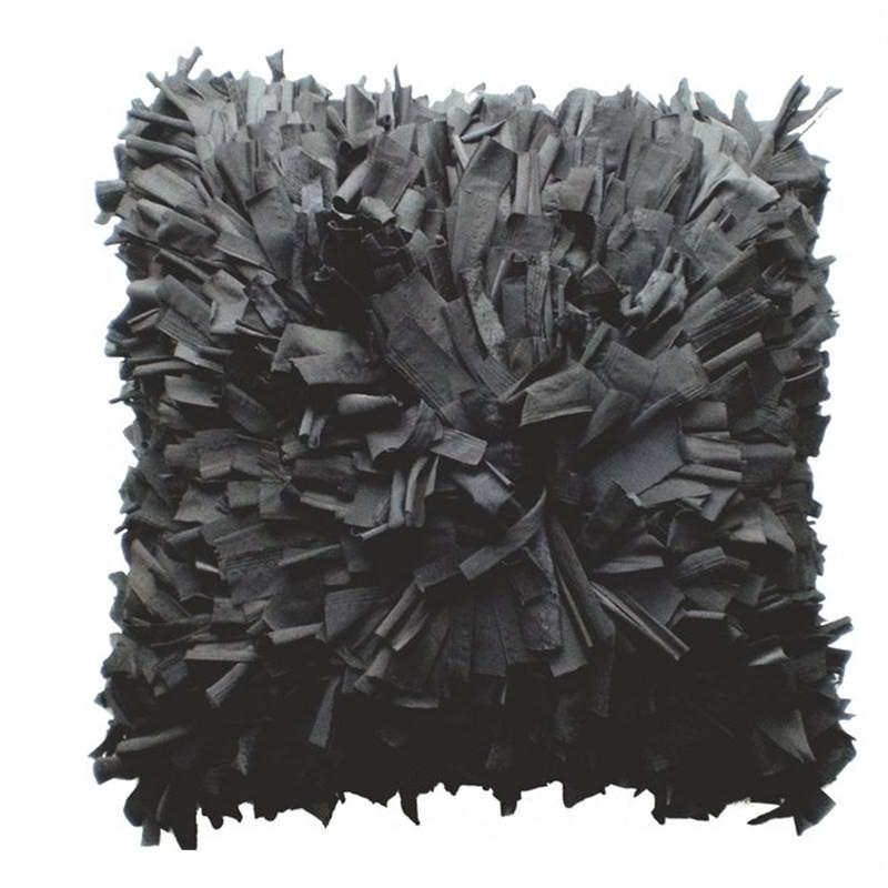 Couture Shag Cushion Black