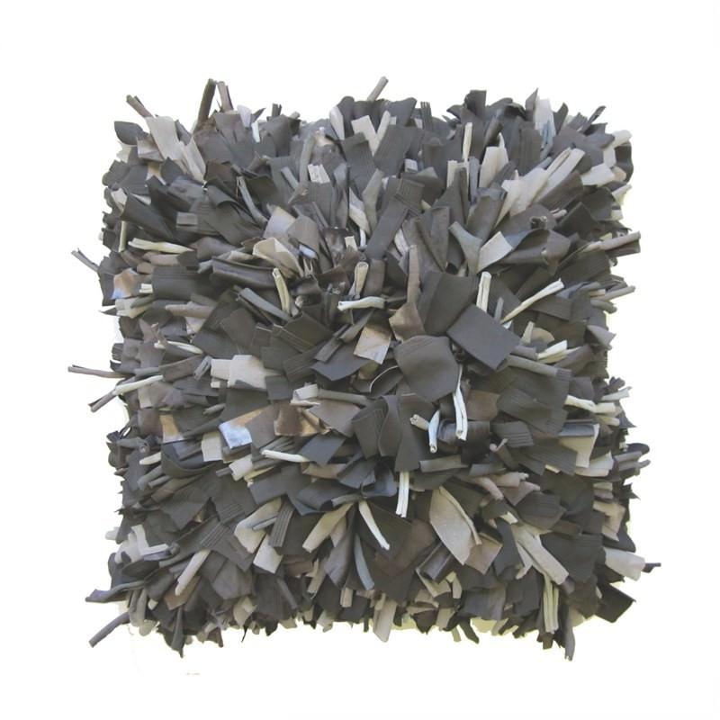 Couture Shag Cushion Charcoal
