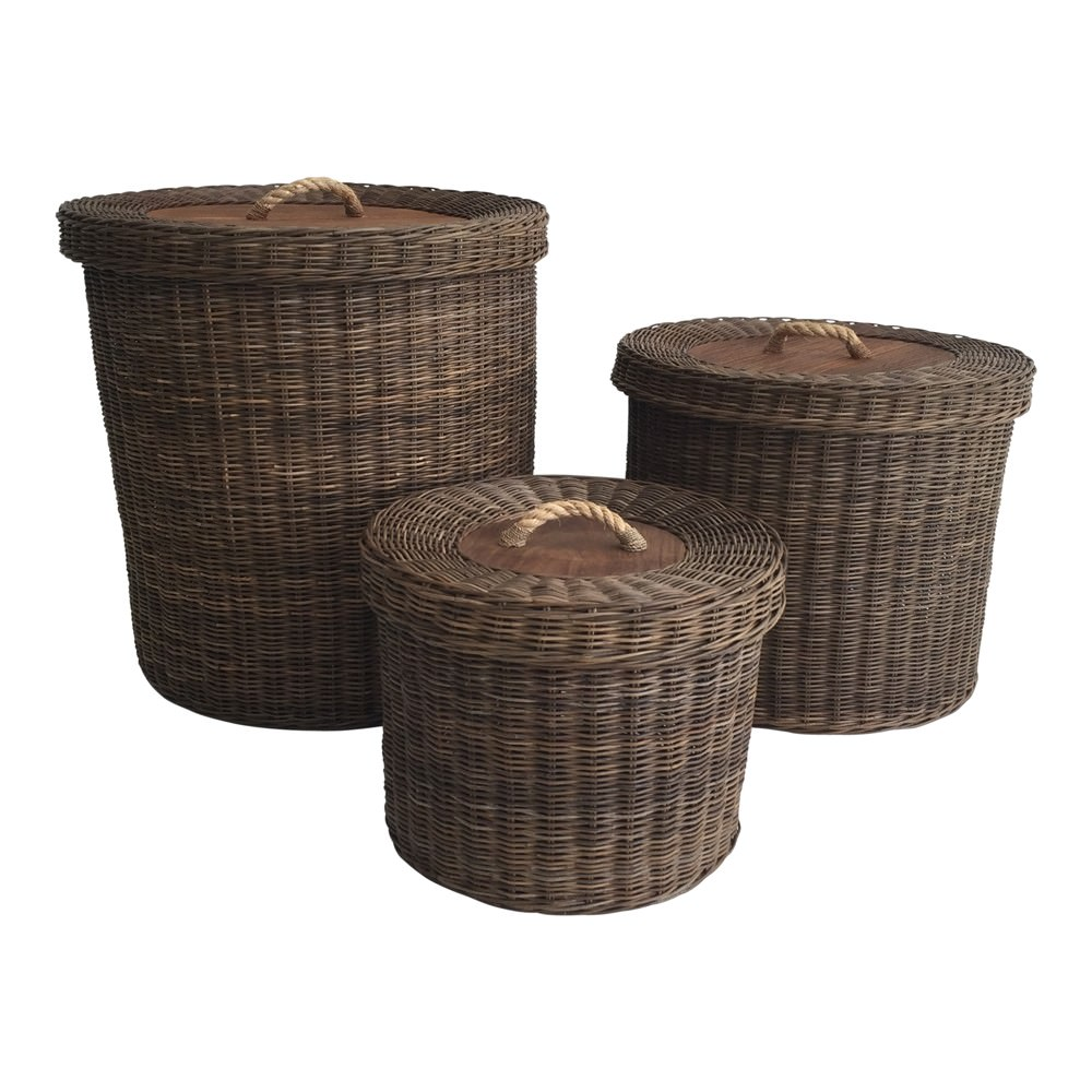 Louise 3 Piece Rattan Laundry Hamper Set