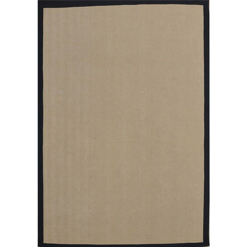 Durry Natural Jute Rug in Natural with Black Edge - 120x180cm